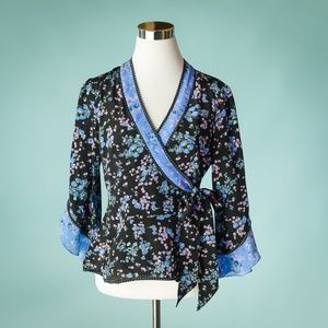 Nanette Lepore 4 Silk Floral Wrap Front Top